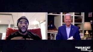 Joe Biden lors de l'interview à distance dans l'émission «The Breakfast Club» de l'animateur de radio Charlamagne tha God, à son domicile à Wilmington, Delaware, le 22 mai 2020 (capture vidéo).