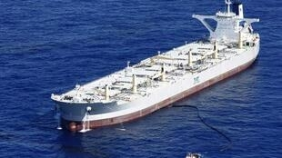 BP tests supertanker fourteen miles northwest of the BP oil spill site in the Gulf of Mexico.