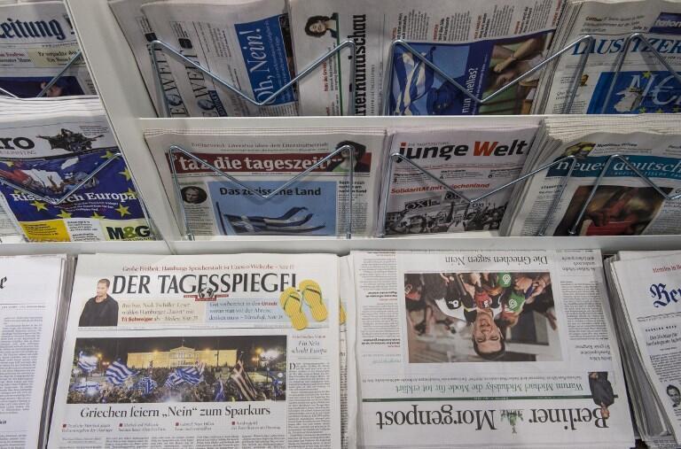 Des quotidiens allemands dans un kiosque berlinois. (Photo d'illustration)