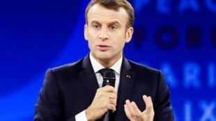 امانوئل ماکرون، رئیس جمهوری فرانسه، در مراسم گشایش دومین نشست «همایش پاریس برای صلح» - ١٢ نوامبر ٢٠١٩