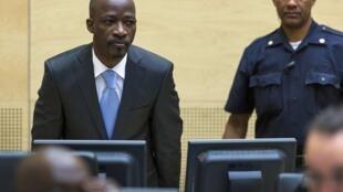 Charles Blé Goudé devant la Cour pénale internationale pour la première audience du procès dans lequel il est accusé de crimes contre l'humanité, en mars 2014.