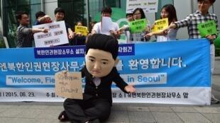 Biểu tình ở Seoul phản đối Bắc Triều Tiên nhân Cơ quan Nhân quyền LHQ mở văn phòng đại diện tại  Seoul, ngày  23/06/ 2015.