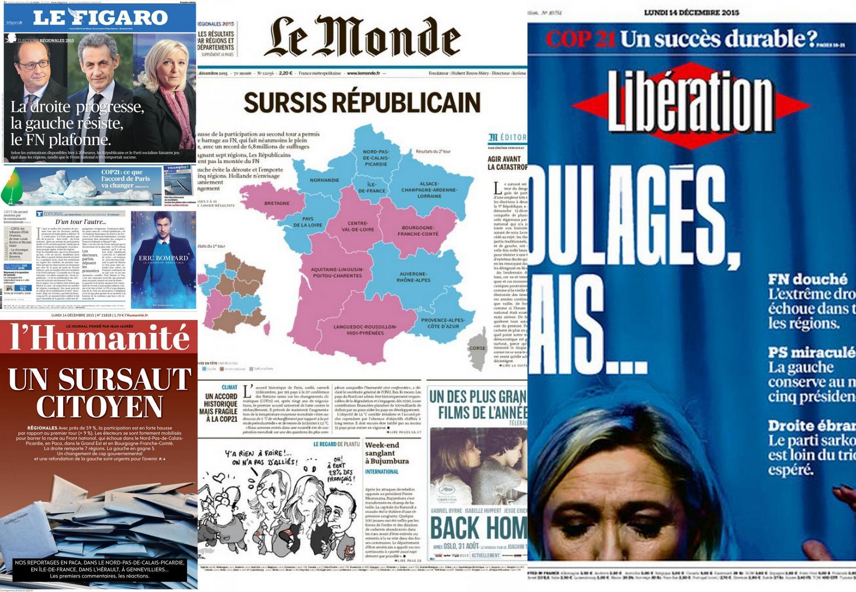 Capa dos jornais franceses Le Monde, Libération, Le Figaro e L'Humanité desta segunda-feira, 14 de dezembro de 2015.