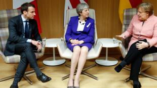 رهبران سیاسی آلمان، بریتانیا و فرانسه: آنگلا مرکل صدراعظم، ترزا می نخست وزیر و امانوئل ماکرون رئیس جمهوری