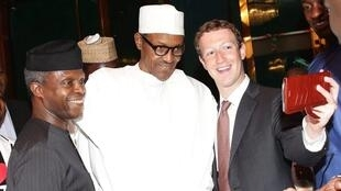 Shugaban Najeriya, Muhammadu Buhari da mataimakinsa, Yemi Osinbajo da kuma shugaban facebook, Mark Zuckerberg a birnin Abuja