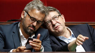 France Unbowed MPs Jean-Luc Melenchon (R) and Alexis Corbiere (L) in parliament