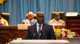 Felix Tshisekedi wakati wa hotuba yake, Kinshasa Desemba 13, 2019.