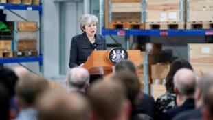 La Première ministre britannique Theresa May lors de son discours à Grimsby, le 8 mars 2019.