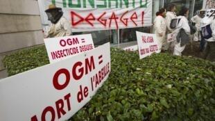 Apicultores franceses protestam em frente à sede da Monsanto, nos arredores de Lyon, em foto do dia 20 de janeiro de 2012.