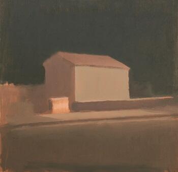 Casa / Noche, oleo sobre madera - 44 cm. x 45 cm.