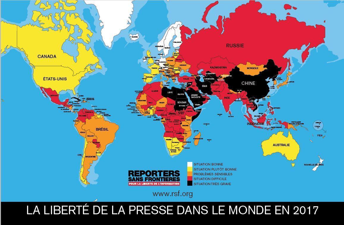 En queue de classement, les pays aux régimes autoritaires.