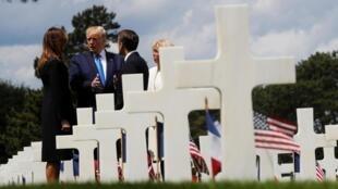 Os Presidentes Trump e Macron juntamente com as suas respectivas esposas esta Quinta-feira 6 de Junho de 2019 na Normandia.