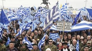 Thessalonique (Grèce), le 21 janvier 2018: plus de 90.000 opposants au maintien du mot «Macédoine» dans le futur nom officiel de ce pays manifestent.