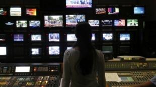Trung tâm phát sóng đài ERT tại Athène ngày 17/6/2013 sau khi có quyết định ngừng hoạt động (11/6).