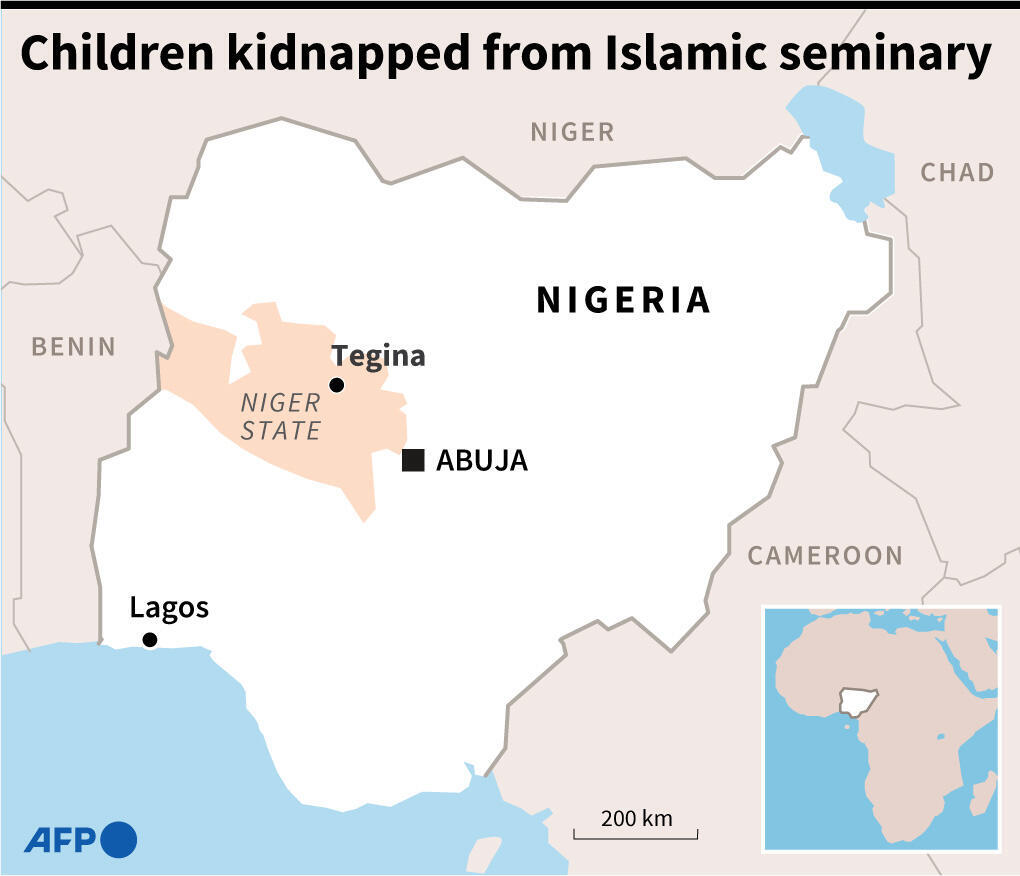 Map of Nigeria locating Tegina, where the freed children were snatched in May from an Islamic seminary