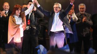 Candidato presidencial Alberto Fernández y su fórmula vicepresidencial, Cristina Fernández de Kirchner, en el cierre de campaña antes las elecciones primarias en Argentina.