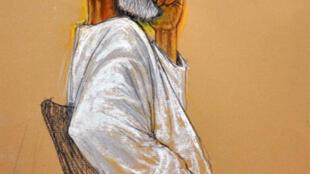 Dibujo de prensa que presenta a  Ibrahim Ahmed Al Qosi durante su proceso en la base naval de Guantánamo en la isla de Cuba.