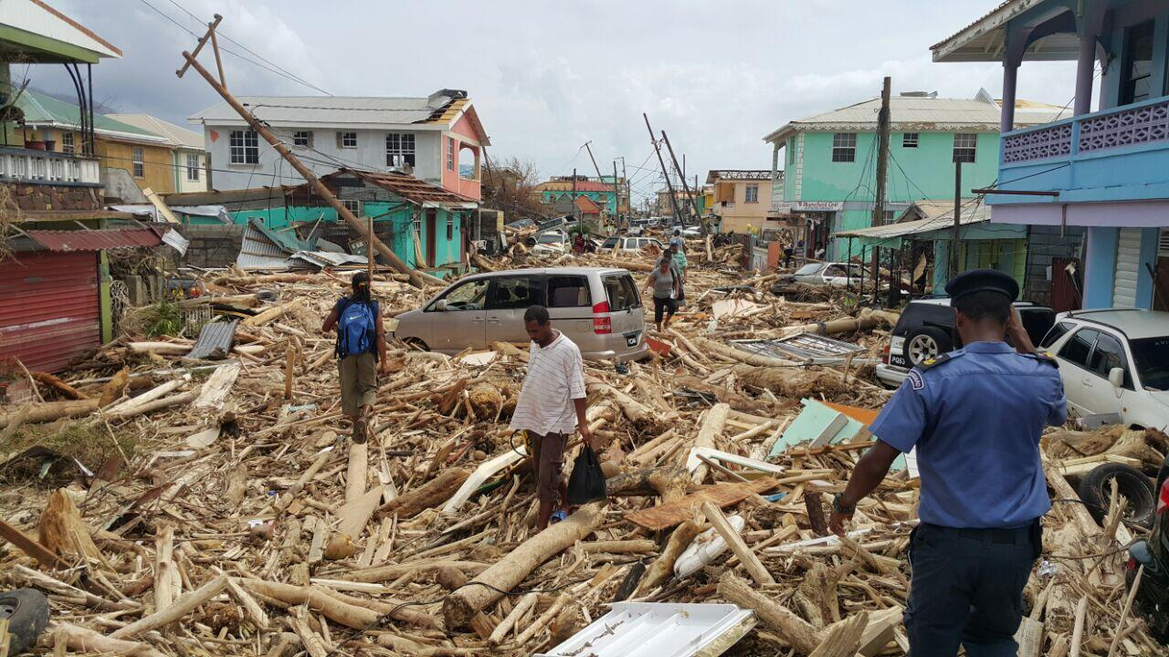 Dominca's capital, Roseau, after being hit by Hurricane Maria
