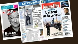 Capas dos jornais franceses Le Figaro, Libération e Aujourd'hui en France desta quarta-feira, 13 de agosto de 2014.