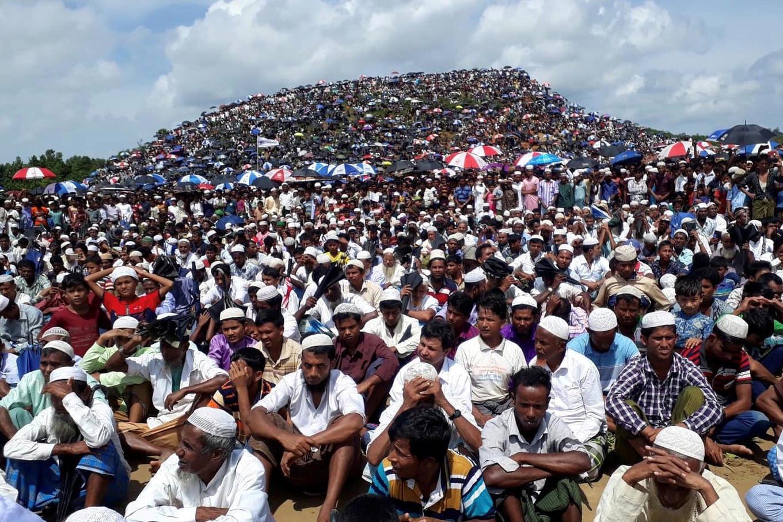 Cerca de 200 mil rohingyas participaram da manifestação pelo aniversário de dois do exílio em Bangladesh, neste domingo 25 de agosto de 2019.