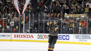 Vegas Golden Knights Mattias Janmark acknowledges the crowd after being named the first star of the game