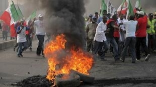 Protesters during a protest against a fuel subsidy removal in Lagos
