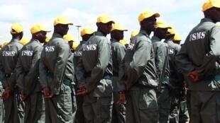 Les Unités spéciales mixtes de sécurité (USMS) lors du début de leur formation à Bouar en Centrafrique en octobre 2019.