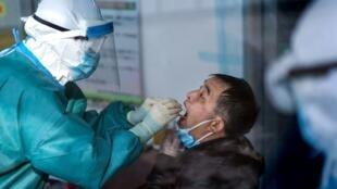 Agente de saúde recolhe material para realizar teste de detecção do coronavírus. OMS alerta que pacientes que já tiveram a Covid-19 podem não estar protegidos contra uma reinfecção.