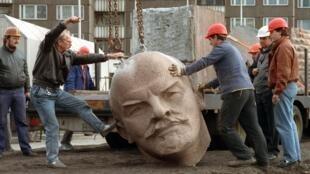 La statue de Lénine qui se trouvait dans la partie Est de Berlin avant la chute du mur, avait été démontée en novembre 1991.
