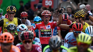 Team Jumbo rider Slovenia's Primoz Roglic (C) as he crossed the finish line in 1st place in 2019