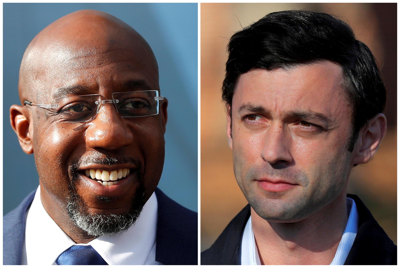 Hai ứng viên Dân Chủ giành chiến thắng trong cuộc bỏ phiếu hôm 05/01/2021 tại Georgia. Ông Raphael Warnock (T) và ông Jon Ossoff (P)