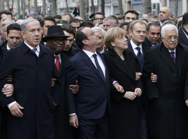 President François Hollande and world leaders at the demonstration