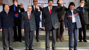 Les présidents Ortega du Nicaragua, Castro de Cuba, Maduro du Venezuela et Morales de Bolivie au premier plan pour le sommet de l'Alba. Caracas, le 5 mars 2018.