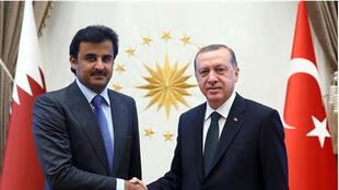 El presidente turco Recep Erdogany el sheik de Catar Cheik Tamim bin Hamad al-Thani, Ankara, el 12/03/2017.