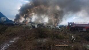 La nave Embraer 190 de Aeroméxico accidentada en Durango.