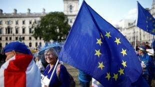 Des manifestants britanniques pro-Europe à Londres, le 4 septembre 2019.