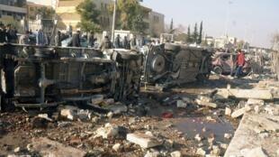 Imagem mostra destruição provocada por bombas contra a universidade de Aleppo, nesta terça-feira.