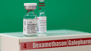 Une ampoule de dexaméthasone produite par le laboratoire Aspen Pharmacare.