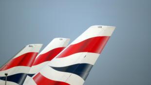 圖為倫敦希思羅機場可見英航公司徽標2018年2月23日