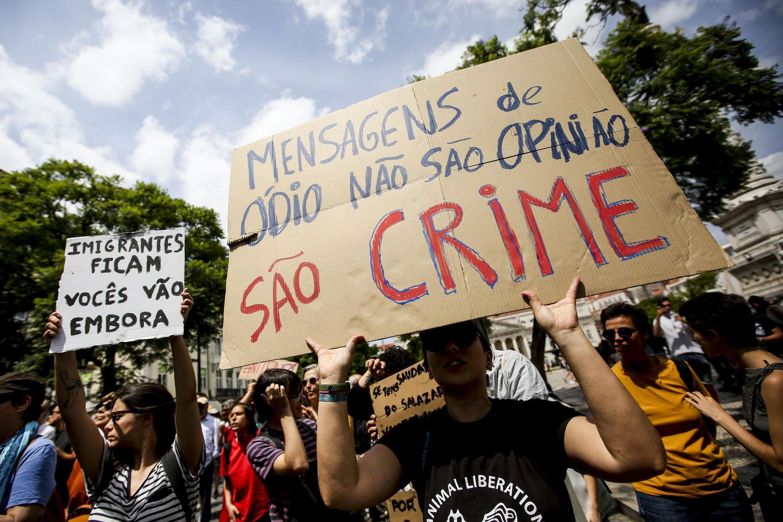 Manifestação antifascista organizada pela Frente Unitária Antifascista contra a conferência neonazi, que decorre em Lisboa.10 de Agosto de 2019