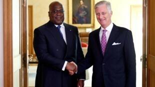 Le président congolais, Félix Tshisekedi, avec le roi des Belges, le roi Philippe, au palais royal de Bruxelles, le 17 septembre 2019.