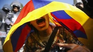 A Tibetan activist outside the United Nations Office in Nepal