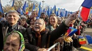 Манифестация в поддержку евроинтеграции Молдавии в Кишиневе 03/11/2013