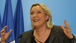 Marine Le Pen, la présidente du Front national, au soir du premier tour des élections municipales, le 23 mars 2014.