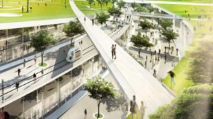 Vue du projet Europa City de l'architecte danois Bjark Ingels et son cabinet BIG (Bjark Ingls Group). EuropaCity, complexe regroupant des loisirs, des équipements culturels et des commerces, entre Parsi et l'aéroport Charles-de-Gaulle.