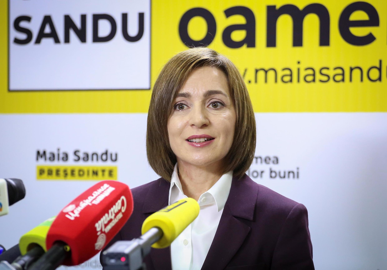 Conférence de presse de Maia Sandu à Chisinau, le 16 novembre, après l'annonce de sa victoire à la présidentielle.