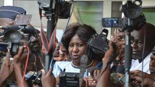 Mariam Sankara, à l'aéroport de Ouagadougou le 14 mai 2015.