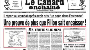 Capa do jornal satírio Le Canard Enchaîne, que chegou às bancas nesta quarta-feira, 8 de fevereiro de 2017.