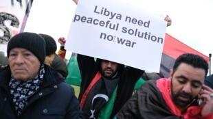 Manifestants aux alentours de la Chancellerie allemande, lieu du sommet sur la Libye à Berlin, ce 19 janvier 2020.