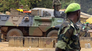 A Cameroonian soldier patrols in the Central African Republic capital Bangui, during a peacekeeping operation